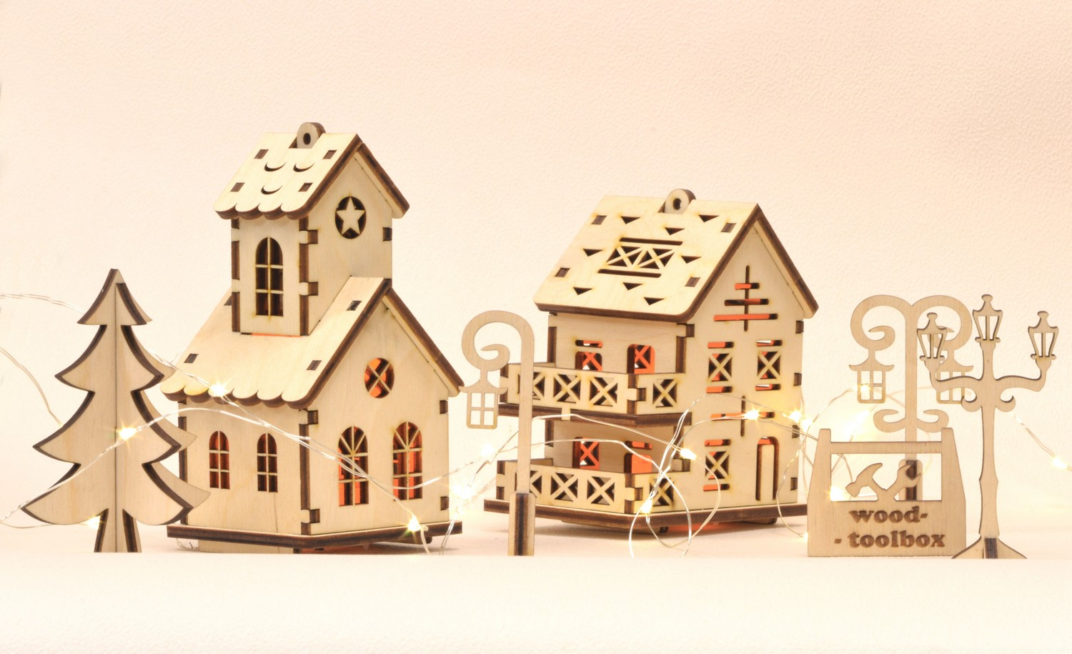 Christmas Houses.Christmas Village Torch For Led Candles
